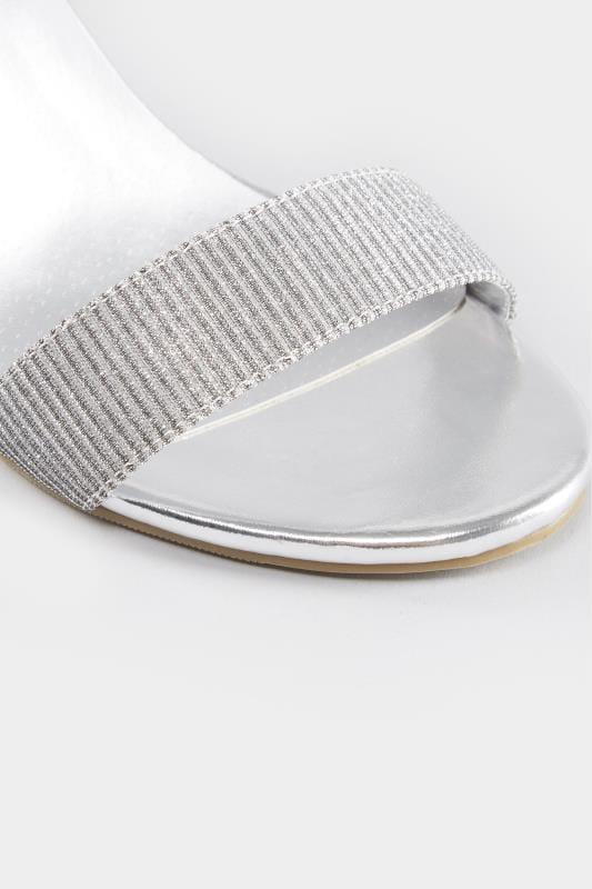 Silver Metallic Heeled Sandals In EEE Fit