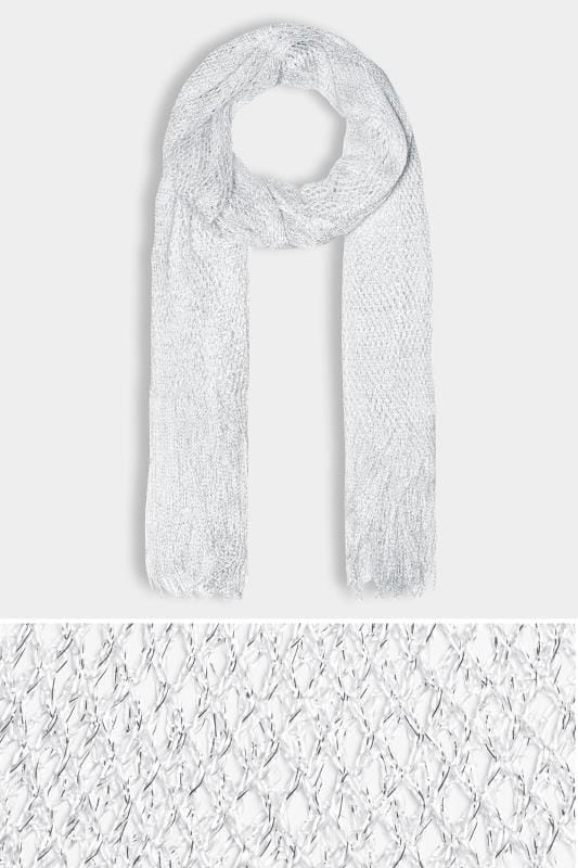 Silver Metallic Netted Scarf