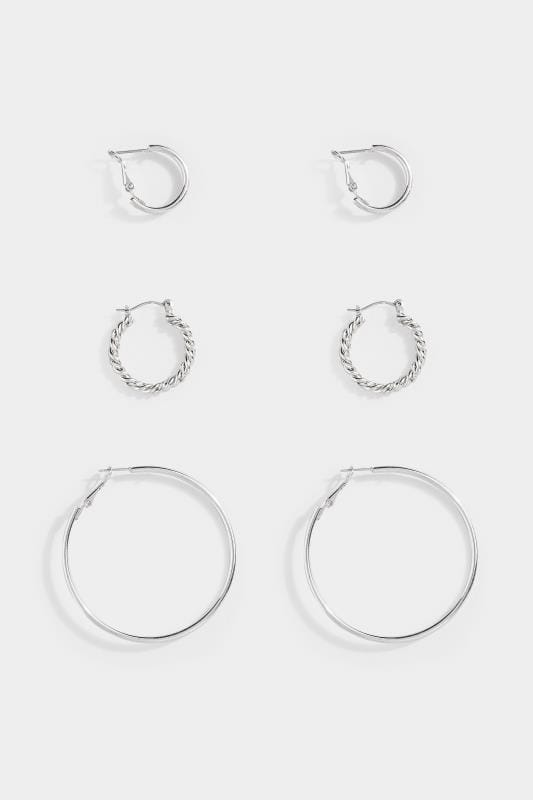 Yours 3 PACK Silver Mixed Size Hoop Earrings