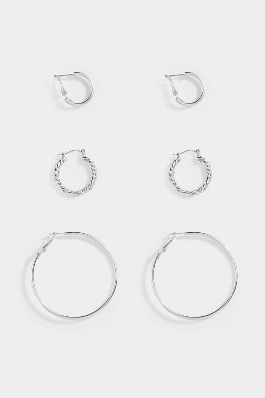 3er Pack Kreolen-Ohrringe in drei Größen - Silberfarben