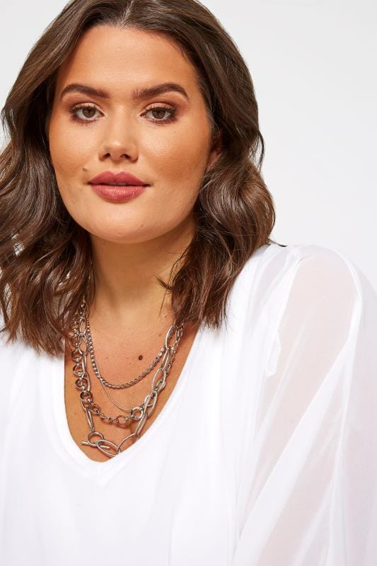 Plus Size Necklaces Silver Multi Layered Necklace