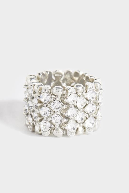 Plus Size Jewellery Silver Multi Stone Ring