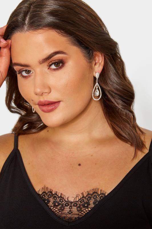 Plus Size Jewellery Silver Multi Teardrop Earrings