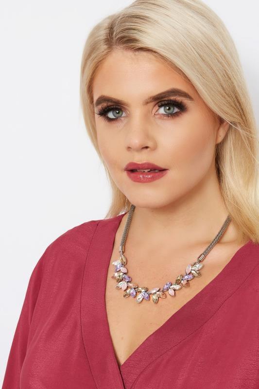 Silver & Pastel Diamante Necklace