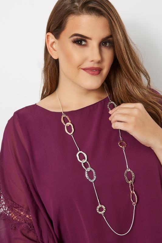 Silver & Rose Gold Hammered Disc Necklace