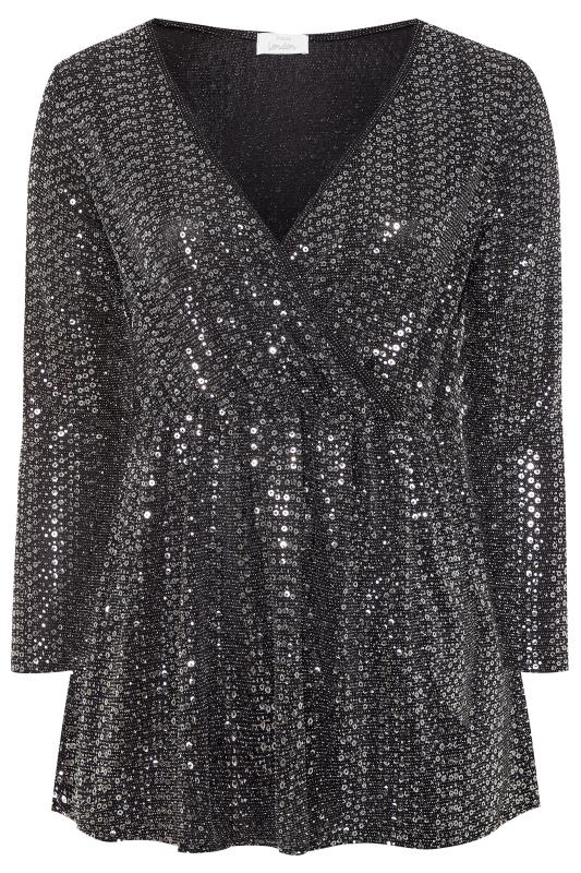 Plus Size Party Tops YOURS LONDON Silver Sequin Wrap Top