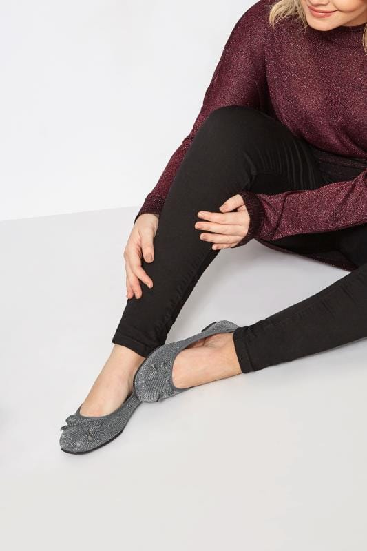 Silver Shimmer Ballerina Pumps In Extra Wide Fit