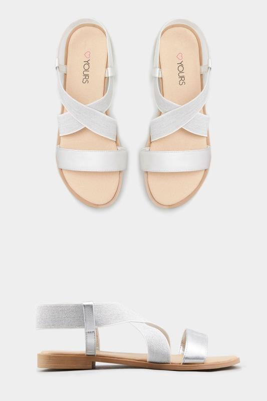 Silver Shimmer Elastic Sandals In Extra Wide Fit