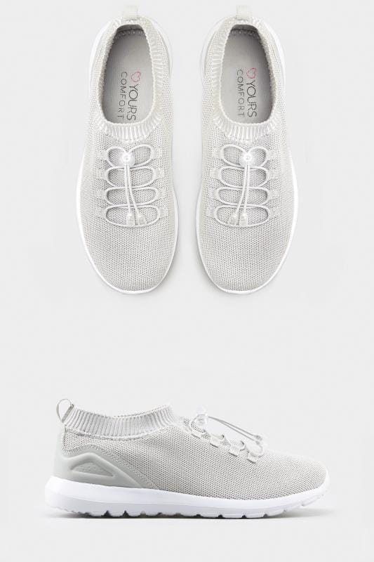Silver Shimmer Sock Style Trainers In Extra Wide Fit