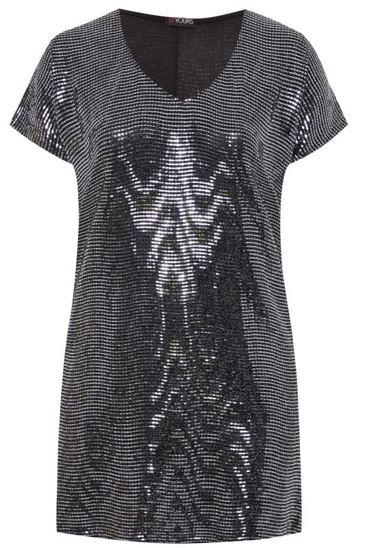 Silver Sparkle Embellished Shift Dress