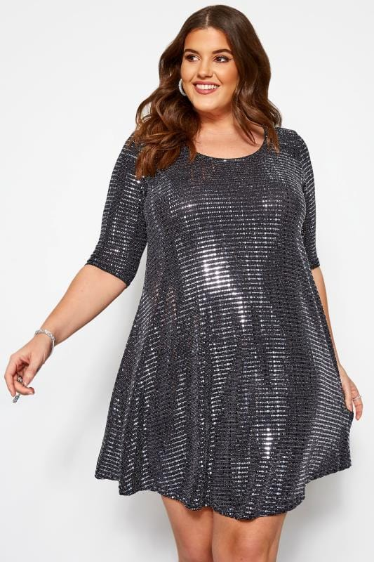 Plus Size Party Dresses Silver Sparkle Embellished Swing Dress