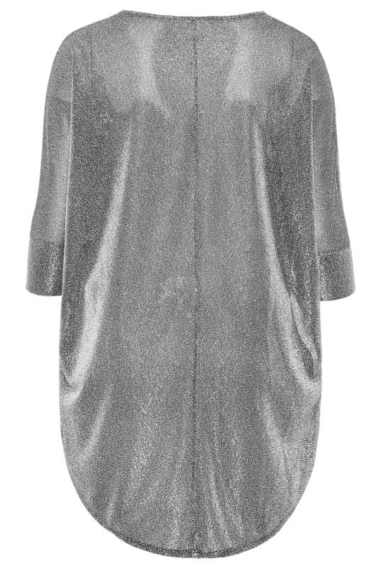 Silver Sparkle Extreme Dipped Hem Top