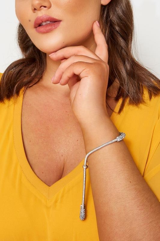 Große Größen Schmuck Gebundenes Armband mit Glitzersteinen - Silberfarben