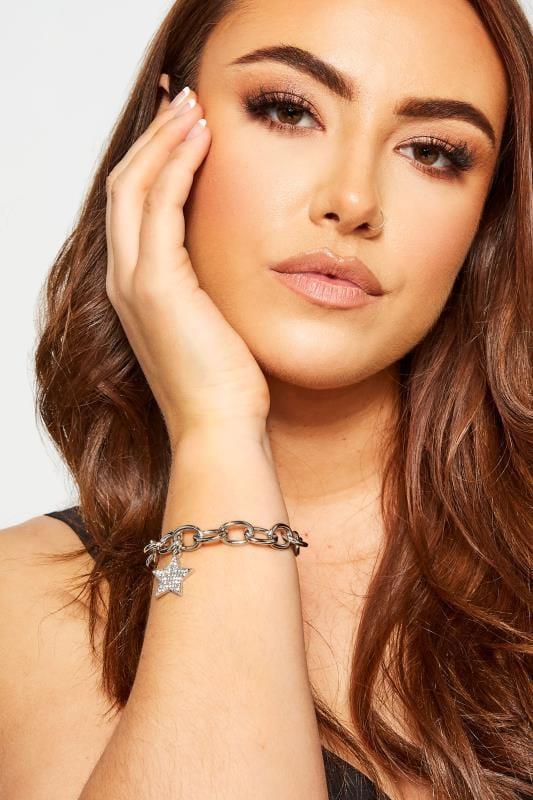 Plus Size Bracelets Silver Star Charm Chain Bracelet