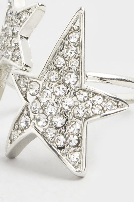 Silver Star Diamante Ring