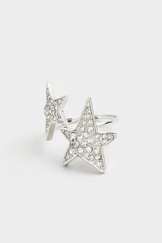 Silver Star Diamante Ring