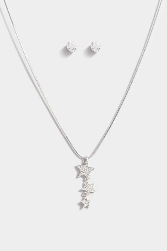 Silver Stars Diamante Jewellery Set