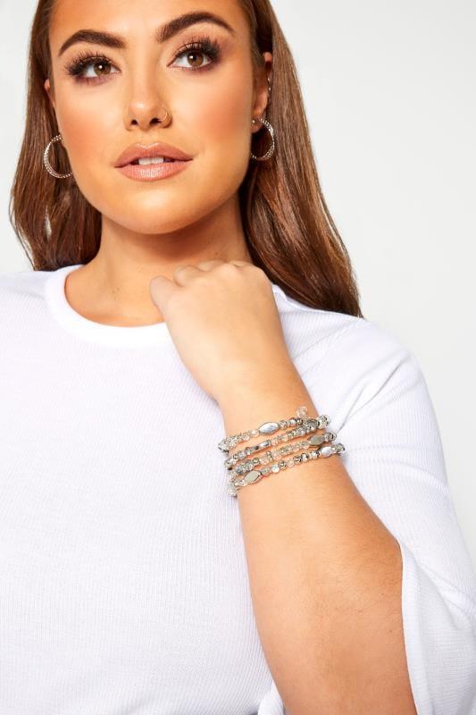 Plus Size Jewellery Silver Stone Wrap Bracelet