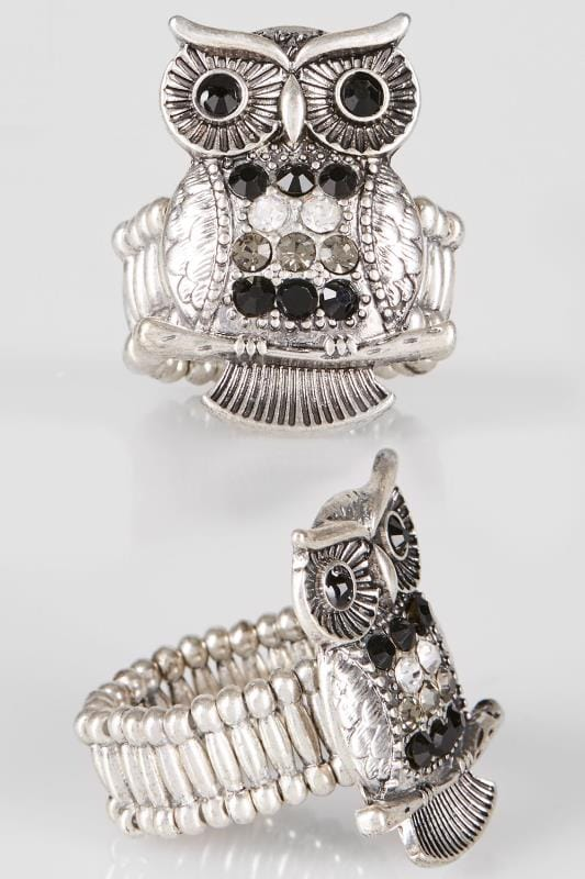 Plus Size Rings Silver & Black Owl Ring