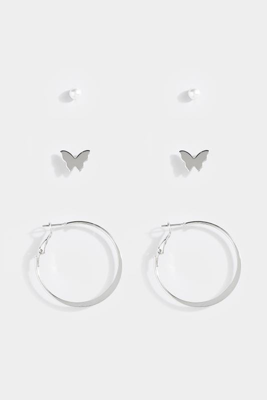 3 PACK Silver Stud & Hoop Earrings