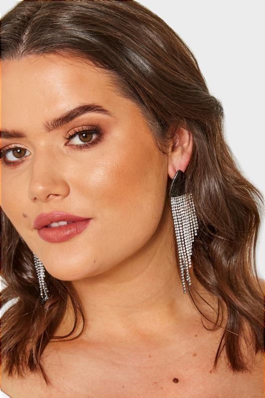 Plus Size Earrings Silver & Black Tasselled Diamante Earrings
