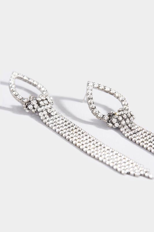 Silver Teardrop Tassel Earrings