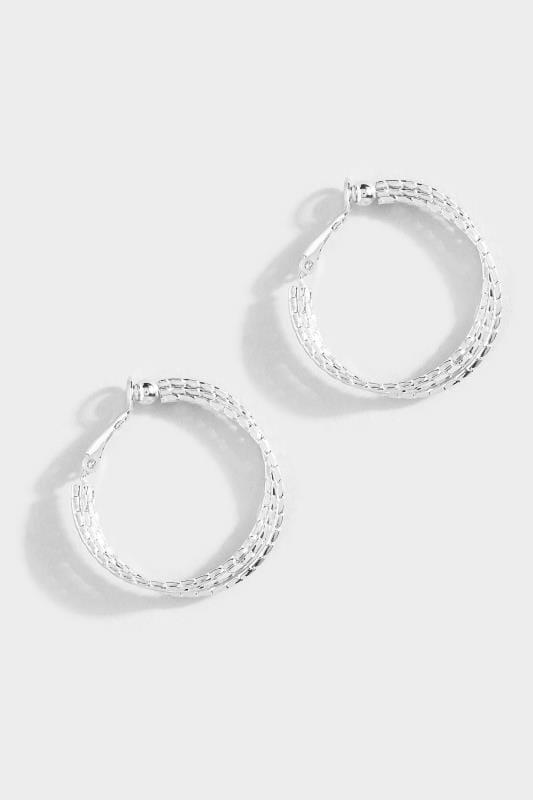 Silver Textured Twisted Hoop Earrings