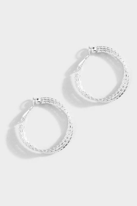 Silver Textured Twisted Hoop Earrings
