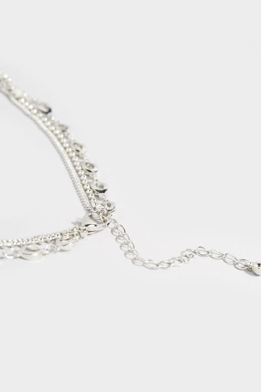 Silver Three Layer Heart Charm Necklace