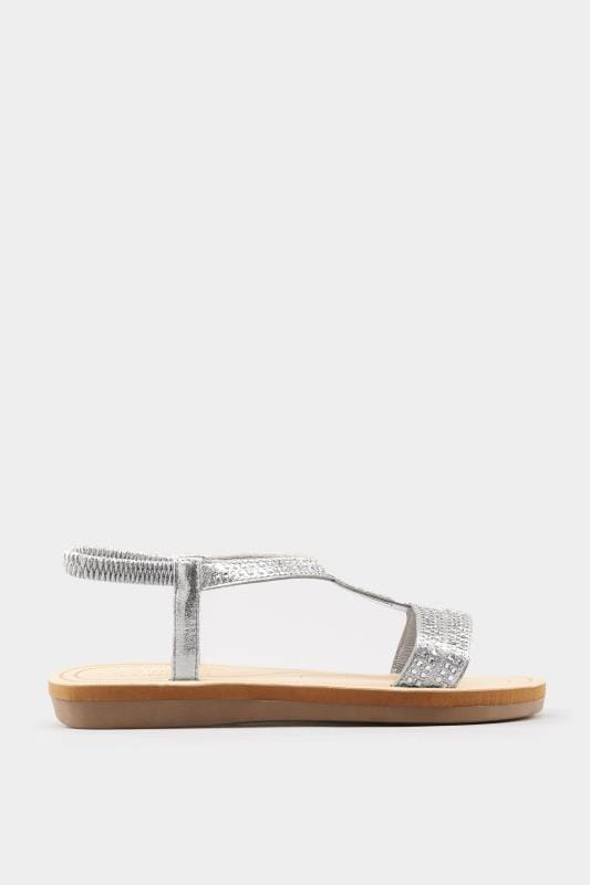 Silver Twist Diamante Sandals In Extra Wide Fit