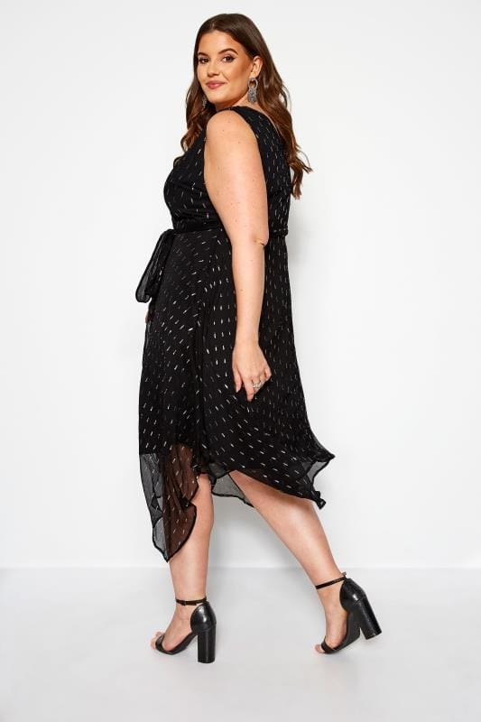 YOURS LONDON Black Metallic Hanky Hem Wrap Dress