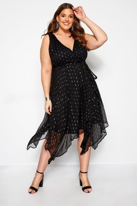 Plus Size Party Dresses YOURS LONDON Black Metallic Hanky Hem Wrap Dress