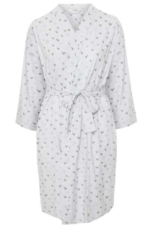 Grey Sketched Heart Print Robe