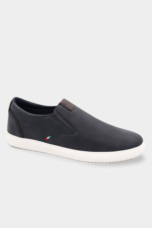 Plus Size Footwear D555 Navy Slip On Trainers