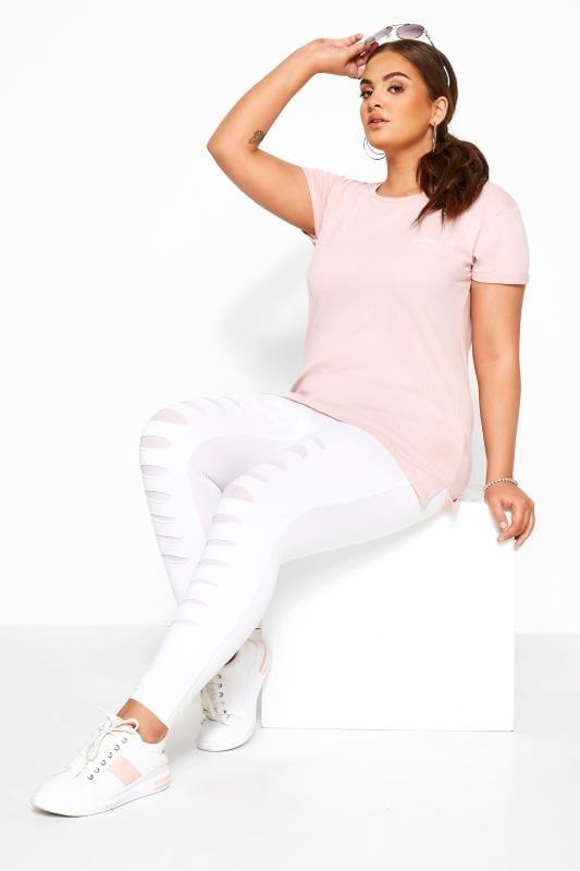 Plus Size Fashion Leggings White Ripped Mesh Insert Leggings