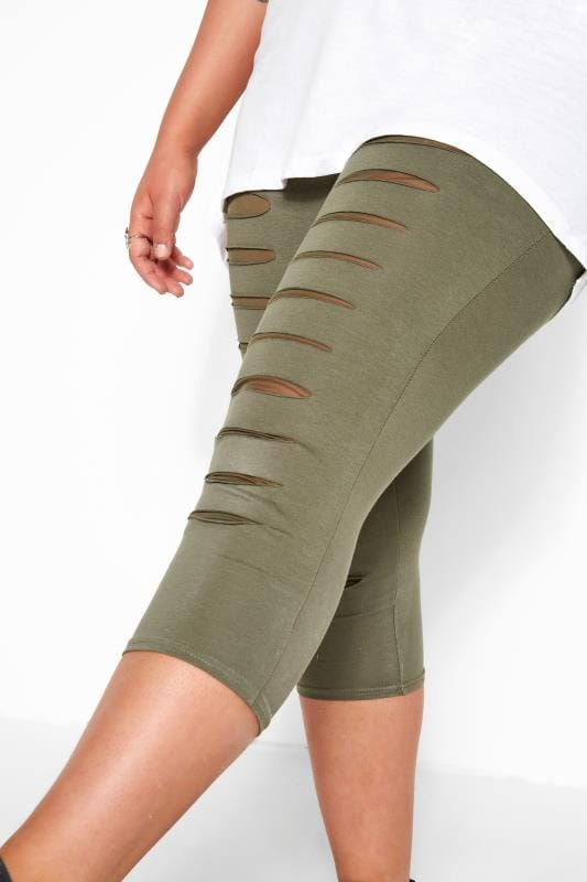 Khaki Ripped Mesh Insert Cropped Leggings
