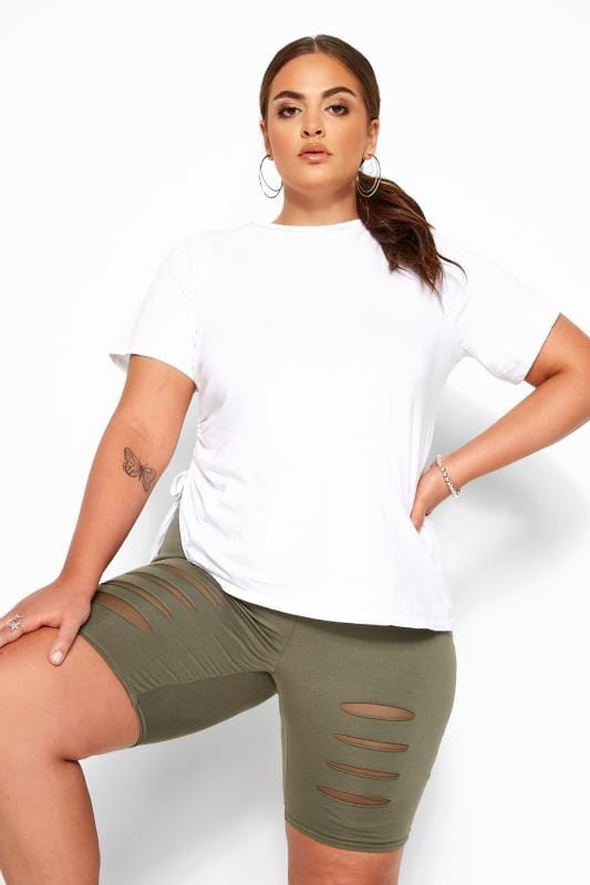 Plus Size Jersey Shorts Khaki Ripped Mesh Insert Cycling Shorts