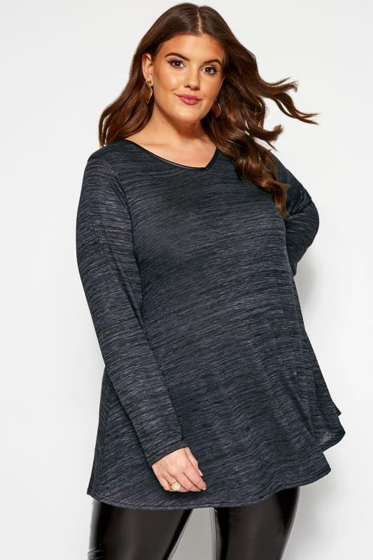 Plus Size Day Tops Slate Grey Marl Long Sleeved Swing Top