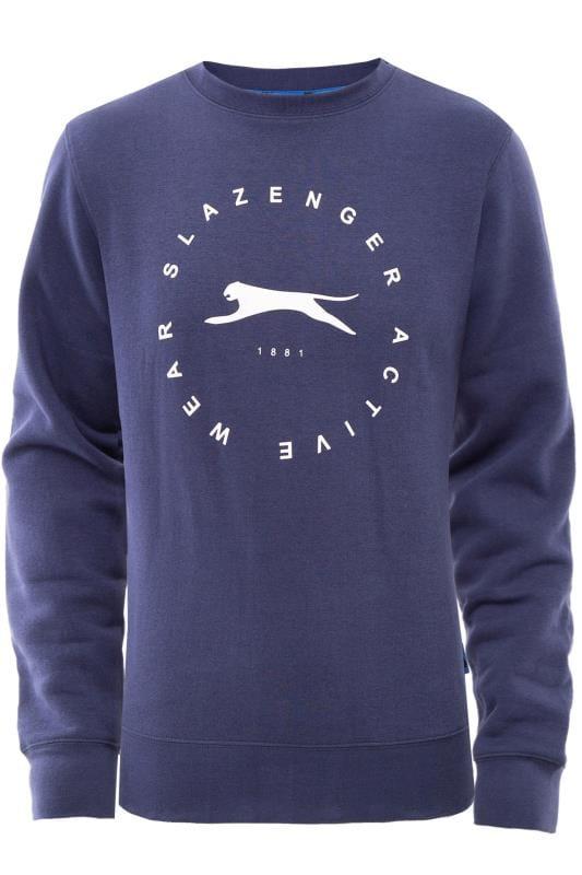 Plus Size Sweatshirts SLAZENGER Navy Logo Sweatshirt