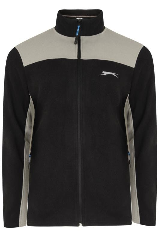 Plus Size Fleece SLAZENGER Black Funnel Neck Zip Through Fleece