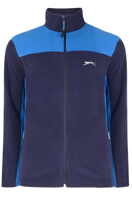 Plus Size Fleece SLAZENGER Navy Funnel Neck Zip Through Fleece