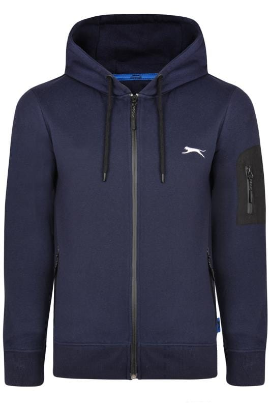 Große Größen Hoodies SLAZENGER Navy Zip Through Hoodie