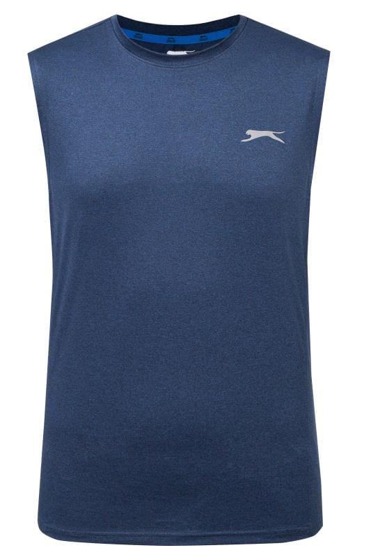 Große Größen T-Shirts SLAZENGER Navy Sports Vest