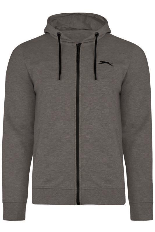 Plus Size Hoodies SLAZENGER Charcoal Grey Zip Through Hoodie