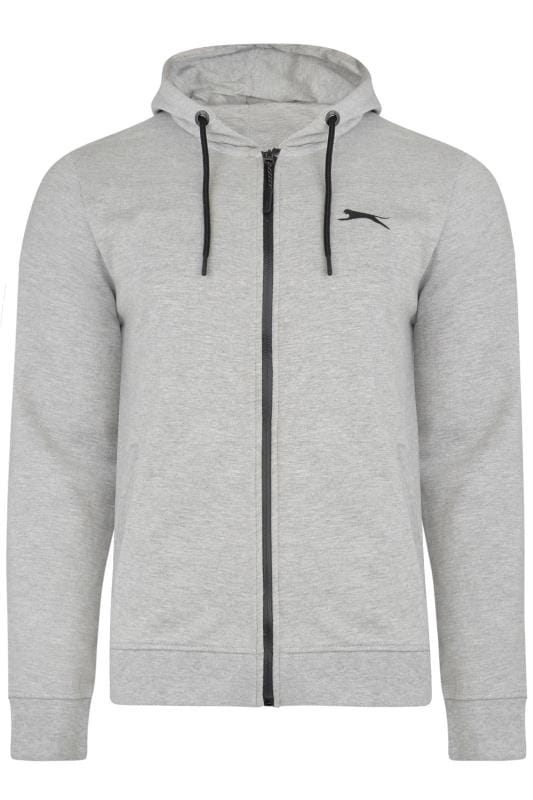Große Größen Hoodies SLAZENGER Grey Marl Zip Through Hoodie