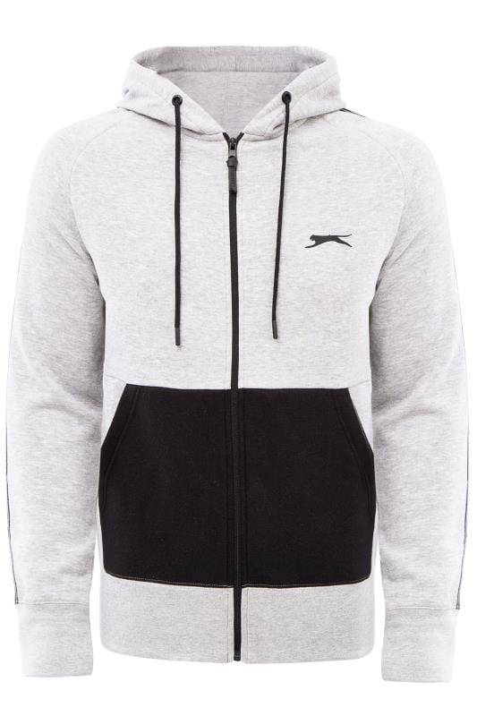 Plus-Größen Hoodies SLAZENGER Grey Marl Logo Panel Hoodie