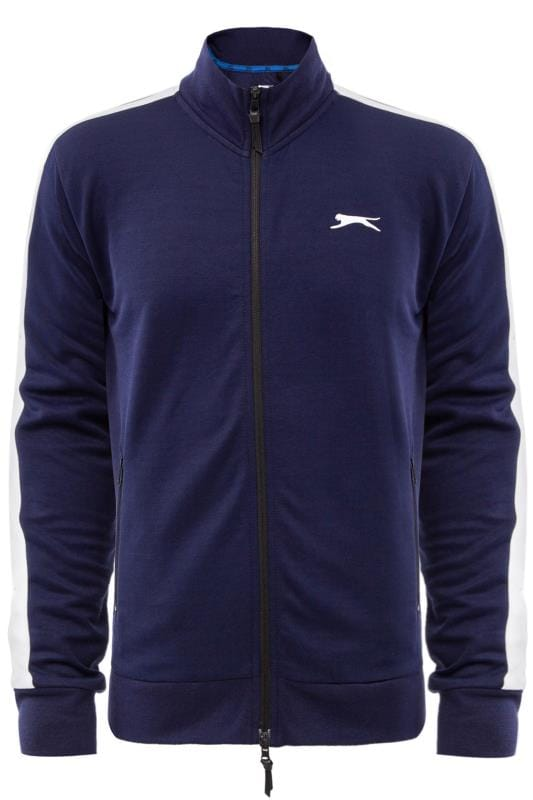 Große Größen Jackets SLAZENGER Navy Zip Through Track Jacket