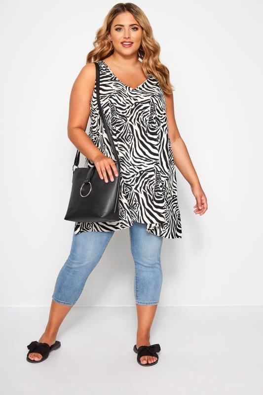 Black & White Zebra Print Sleeveless Vest Top