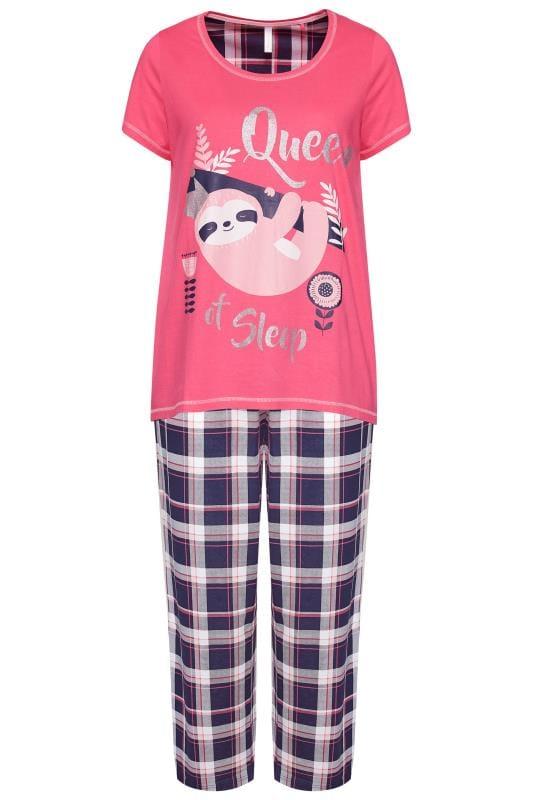 Pyjama mit Faultier und Schriftzug - Rosa