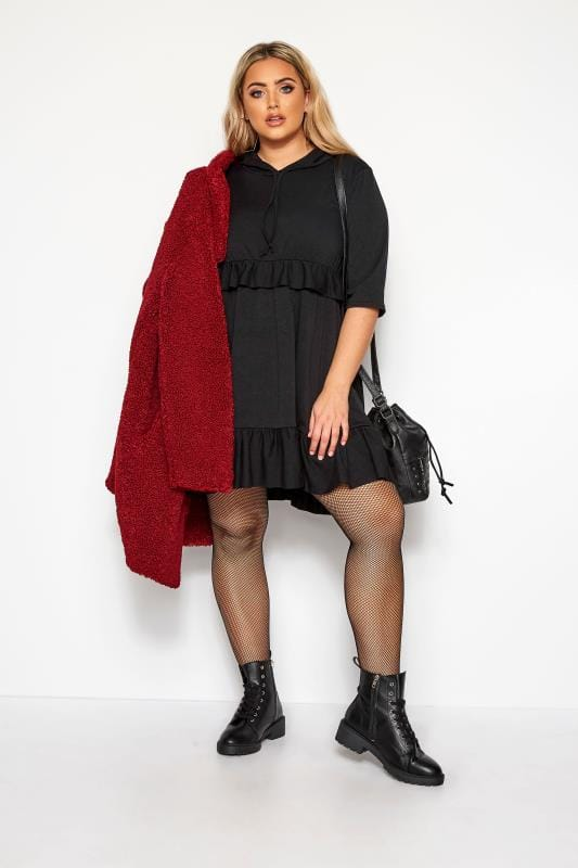 LIMITED COLLECTION Black Smock Hoodie Dress